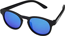 Black with Blue Mirrored Lenses