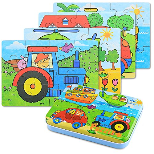 BBLIKE Jigsaw Wooden Puzzles Toy in a Box for Kids, Pack of 4 with Varying Degree of Difficulty Educational Learning Tool Best Birthday Present for Boys Girls (Vehículo)