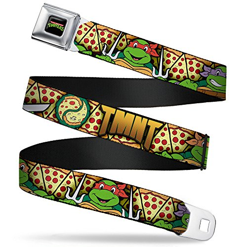 Buckle-Down Seatbelt Belt - Classic TMNT Turtle Poses/Pizza Slices - 1.0' Wide - 20-36 Inches in Length