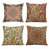 FRECINQ Fundas Cojines 45x45cm Cojines Sofas 4 Piezas Bohemio Decorativas Funda de Almohada con Estampado Floral Multicolor para el Sofa Sillas Jardín Decoración del Hogar