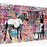 Runa Art Banksy Lavado Cebra Cuadro Murales Sala XXL Vistoso Arte Urbano 120 x 80 cm 3 Piezas Decoración de Pared 012931c