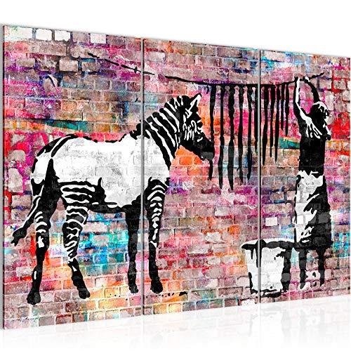 Bilder Banksy Washing Zebra Wandbild 120 x 80 cm Vlies - Leinwand Bild XXL Format Wandbilder Wohnung Deko Kunstdrucke - MADE IN GERMANY - Fertig zum Aufhängen 012931c