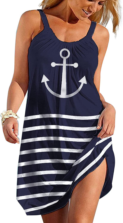 Sleeveless Dress for Women, Anchor Print Sleeveless Dress, Flowy Stripe Tank Dress for Beach, Casual, Party