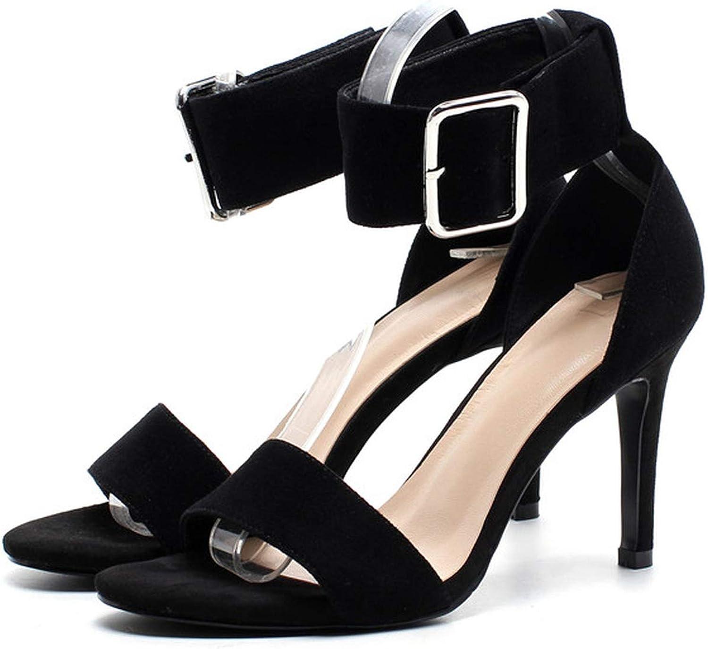 YuJi Women Sandals Stiletto High Heel Ankle Strap shoes Buckle Open Toe Sexy Female Sandals