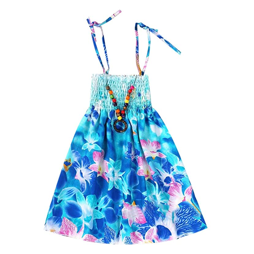 Kingspinner Little Girl Trends Summer Rainbow Dresses Vestidos Floral Bohemian Beach Straps Dress with Necklace