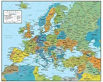 Swiftmaps Europe Wall Map GeoPolitical Edition  18x22 Laminated