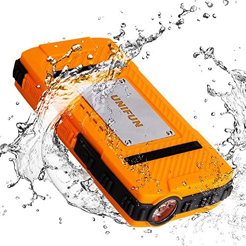 Waterproof External Battery - UNIFUN 10400mAh Power Bank Dustproof Shockproof with Strong LED Flashlight and Strap Hole For Outdoor Sport and Charge for iPhone 6s 6 Plus, iPad and Samsung Galaxy and More, Model: , Electronics & Accessories Store