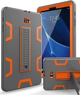 XIQI Samsung Galaxy Tab A 10.1 2016 Case, Three Layer Hybrid Rugged Heavy Duty Shockproof Anti-Slip Case Full Body Protection Cover for Tablet SM-T580/T-585,Grey/Orange