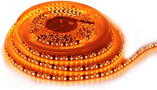 ALITOVE 16.4ft Orange LED Flexible Strip Light lamp 5M 600 LEDs 3528 SMD Waterproof IP65 12V DC Black PCB for Home Hotels Clubs Shopping malls Cars Decoration