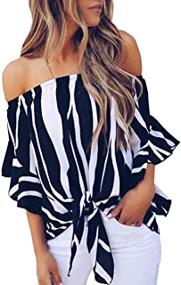 Womens Striped Off Shoulder Bell Sleeve Shirt Tie Knot Summer Blouses Tops