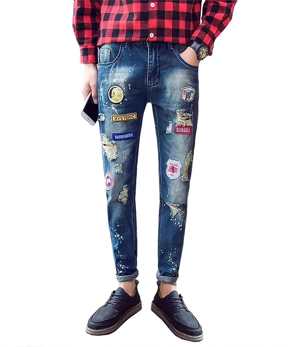 振るう恨みブレース[プチドフランセ ] ジーンズ メンズ パンツ カラー ワッペン デニム W-2