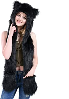 Black Cat Full Animal Hood Hoodie Hat Faux Fur 3 in 1 Function Paw Mittens Gloves