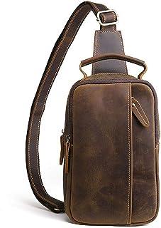 Hebetag Vintage Leather Sling Bag Handbag for Men Women Crossbody Shoulder Backpack Chest Day Pack Backpacks Daypacks Outd...