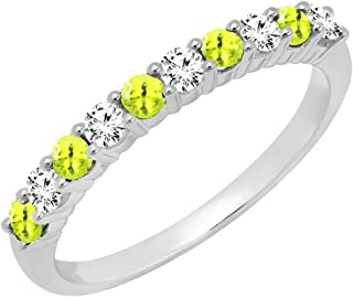 14K Round Gemstone & White Diamond Ladies Stackable Anniversary Wedding Band, White Gold