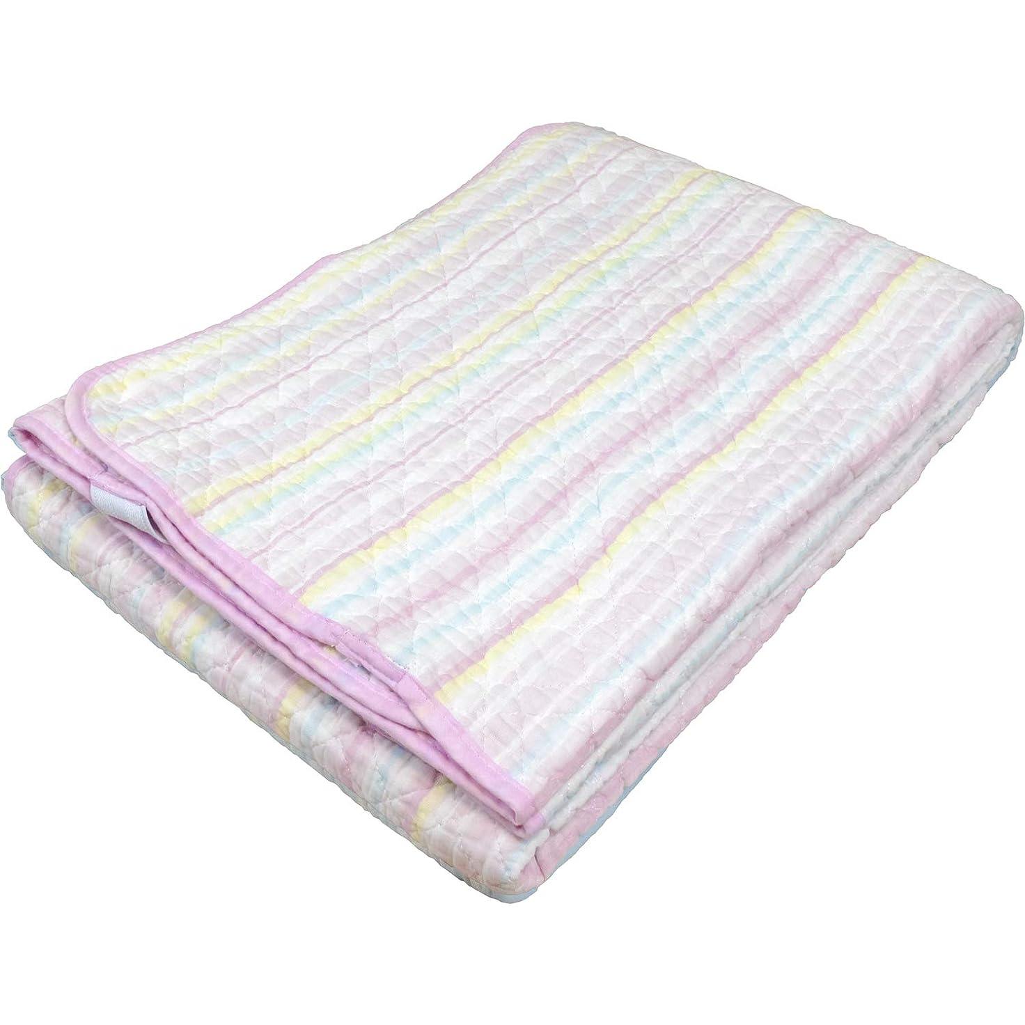 除外する対駐地綿100% 水洗いガーゼ敷きパッド ダブル 140×205cm ピンク色 さわやかな肌ざわり 強化ゴムバンド 水洗い可能