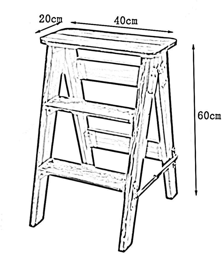 LILIS Tabouret Escabeau Tabouret Ladder Ménage Portable Chaise Pliable Durable Antirouille Bois Massif, 3 Couleurs (Color : C) A