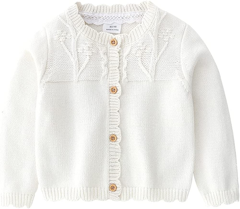 LittleSpring Toddler Baby Girl Sweater Cardigan Cable Knit Ruffle Soft