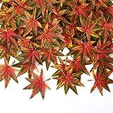 Naler - 100 foglie di acero artificiali, foglie di acero colorate a caduta, per album di ritagli, matrimoni, Halloween, Natale, casa, tavola autunnale, decorazioni per feste