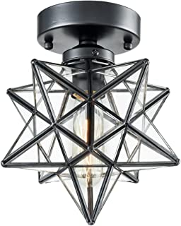 AXILAND Industrial Moravian Star Ceiling Light with 8 inches Glass Shade 1 Light