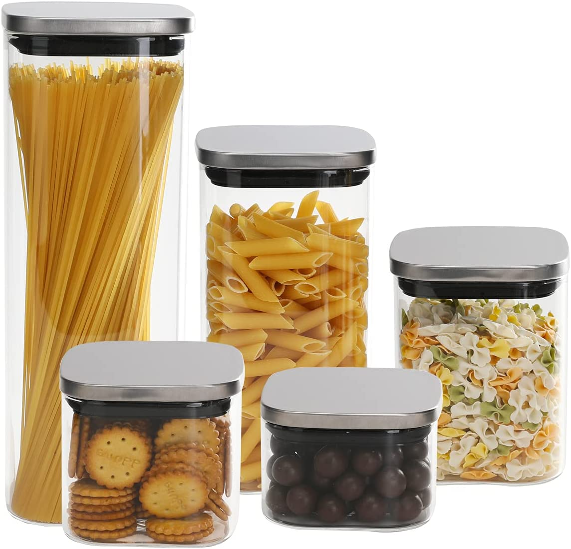 Shipping included Emica Home Glass Food Max 48% OFF Storage with Containers Stainless Airtight