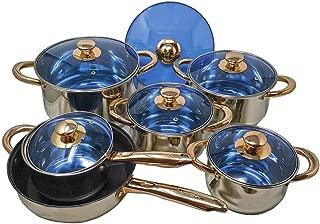 12 Piece Gourmet Stainless Steel & Copper Cookware Pots & Pans Sauté Pan & Blue Glass Lids Encapsulated Bottom with Liquid Measurement Marks