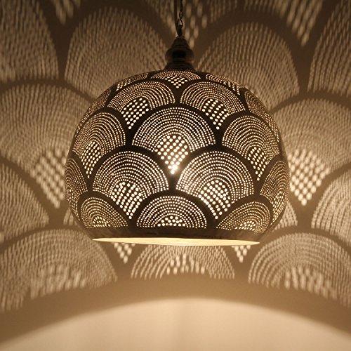Orientalische Lampe marokkanische Hängelampe Toufaha Samak D35 Silber aus Messing mit E27 Fassung | Kunsthandwerk aus Marokko | Prachtvolle Pendelleuchte wie aus 1001 Nacht | EL2024