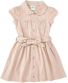 Girl Uniform Belted Safari Dress Navy Khaki
