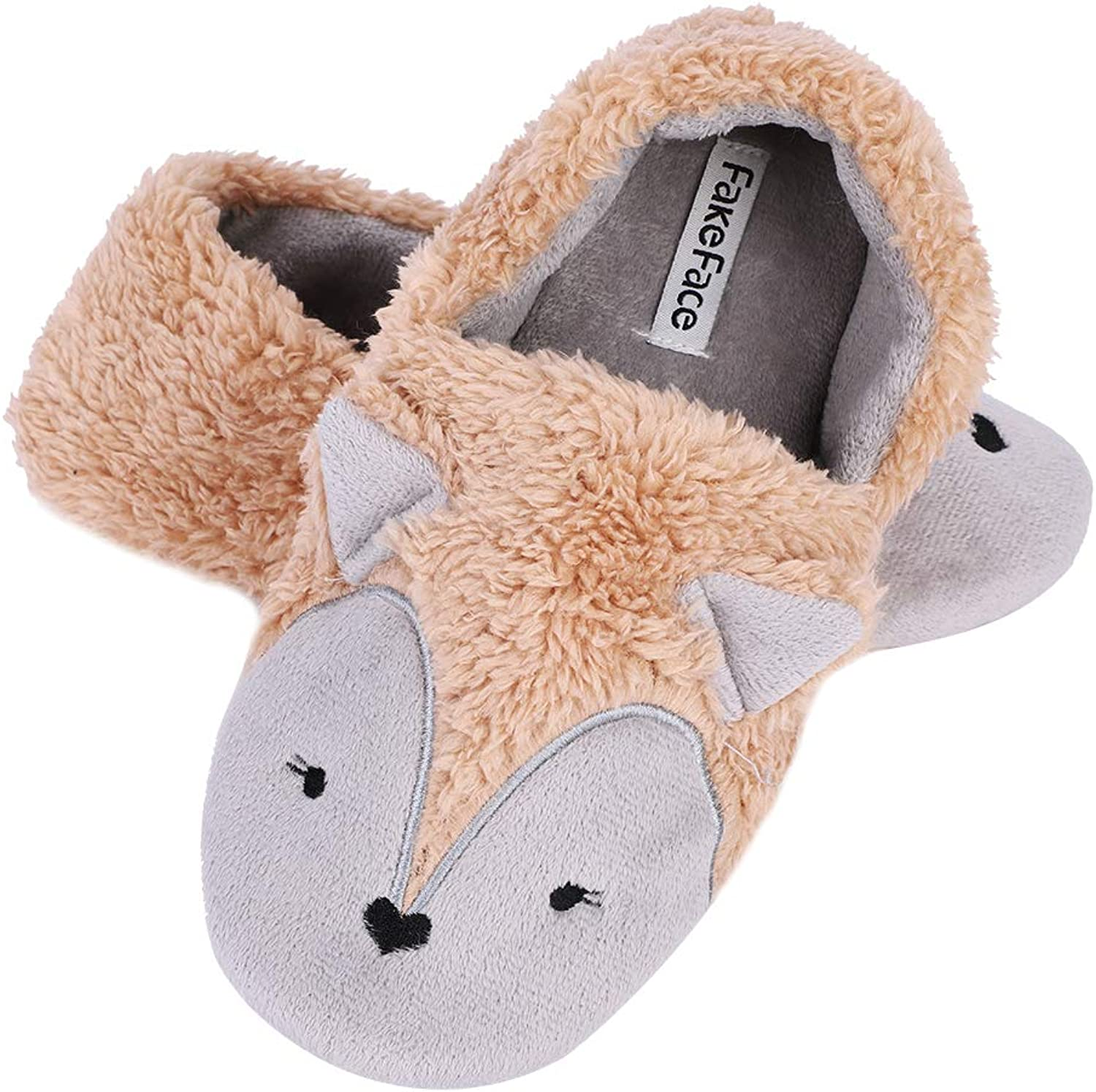 QCHOMEE Stylish Fox Slippers, Women Girls Full Feet Plush Warm Slippers Winter Thermal Fleece House Indoor Slippers Fuzzy Clog Mule Skid-Proof Sole Footwear Home shoes with Warm Lining
