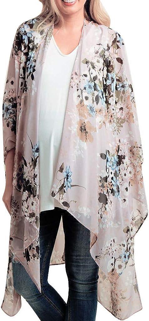 VonVonCo Pullover Sweaters for Women, Chiffon Shawl Print Kimono Cardigan Top Cover Up Blouse Beachwear S-XXL
