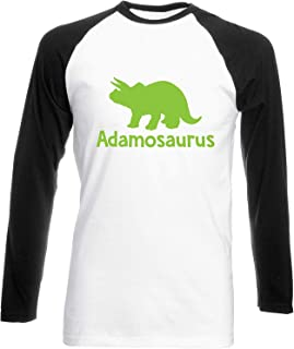 Julie Alcott Personalised Your Name osaurus Triceratops Dinosaur Green Womens Long Sleeve Baseball Two Tone t-Shirt
