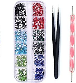 DAODER Rhinestones for Nails Round Flatback Nail Gems and Charms for Nails Decoration Crystal Nail Jewels Blue Green Black Red Rhinestones for Crafts DIY 1620pcs