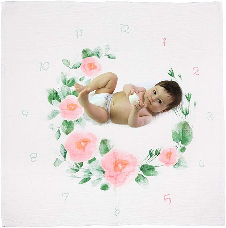 Hombae 2 In 1 Baby Monthly Milestone Blanket Muslin Swaddle Blanket Photography Backdrop For Newborn Boy Girl Baby Swaddle Wrap Stroller Cover Baby Shower Gift Bonus Floral Wreath