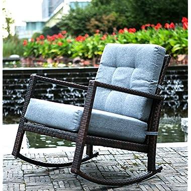 Merax Cushioned Rattan Rocker Chair Rocking Armchair Chair Outdoor Patio Glider Lounge Wicker Chair Furniture with Cushion (Grey Cushion)