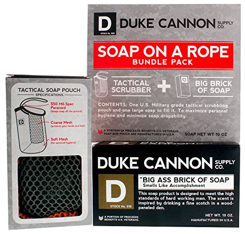 Duke Cannon Supply Co. - Mens Soap On A Rope Tactical Scrubber Soap Bundle (2 Piece Set) Includes Tactical Body Scrubber and Smells Like Accomplishment (Bergamot and Black Pepper) Bar Soap