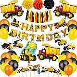 Deco de cumpleaños del bolso, banner de feliz cumpleaños, decoración de cumpleaños de la construcción, decoración de la fiesta de cumpleaños de los niños, globos de camiones de excavadora.