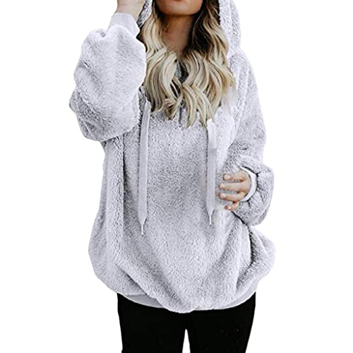 ef1ddb4f76 DEELIN Women Solid Warm Fluffy Hoodie Sweatshirt Ladies Hooded Pullover  Jumper Autumn Winter Long Sleeve Tops