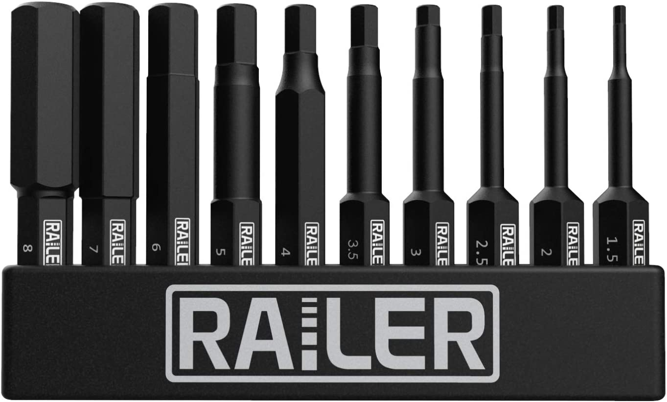 Railer 10 Pack Metric Hex Head Allen Wrench Drill Bit Set Premium S2 Steel 2 Inch Metric Hex Bit Set With Quick Release Shank and a Storage Bitrail Perfect for Ikea Type Furniture