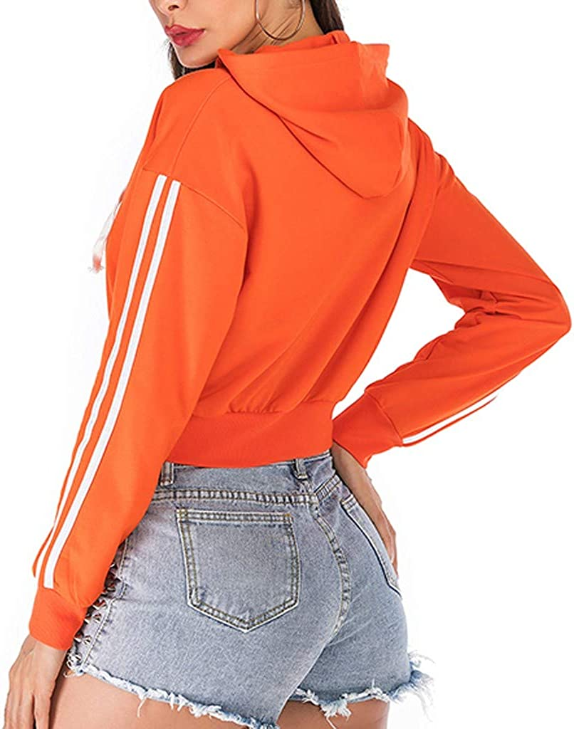 TOPUNDER Womens Casual Loose Solid Color Long Sleeve Hooded Sweater Outdoor Sport Jacket