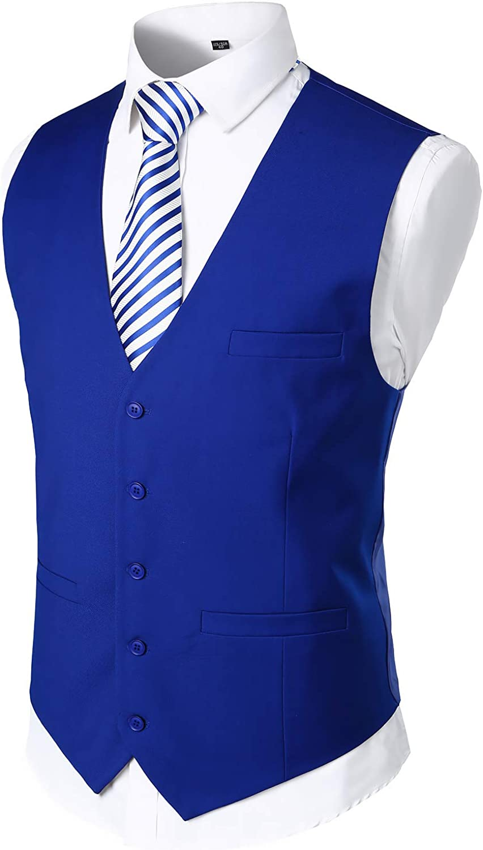 VATPAVE Mens V-Neck Formal Suit Vest Slim Fit Dress Vest Wedding Waistcoat for Tuxedo
