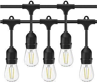 LED Outdoor String Lights- Geecol 49Ft Waterproof IP65 Commercial Grade S14 Heavy Duty Festoon String Light 15 Hanging Soc...