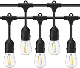 LED Outdoor String Lights- Geecol 49Ft Waterproof IP65 Commercial Grade S14 Heavy Duty Festoon String Light 15 Hanging Soc...