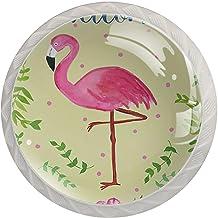 Lade knoppen ronde kristallen glazen kast handgrepen Pull 4 Pcs,Welkom Flamingo patroon