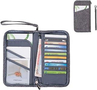 Passport Wallet Holder Cover Family Multifunction Portable Travel Wallet Folding Passport Holder Wallet for Men and Women (Grey)
