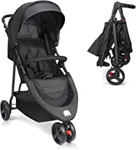 Baby Stroller, Meinkind Jogging Stroller Foldable Lightweight Portable Stroller 3 Wheels Baby Jogger Stroller with Canopy, 5-Point Safety Belt, Storage Basket, Snack Tray, Up to 33 lbs Toddler