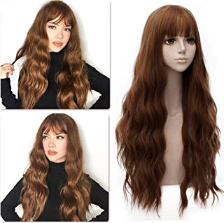 Long Wavy Wig With Air Bangs Heat Resistant Synthetic Wigs for Women Natural Looking 28 inch Hair Replacement Wig for Dail...