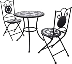 vidaXL 3 Piece Bistro Set Mosaic Black and White Outdoor Dining Furniture