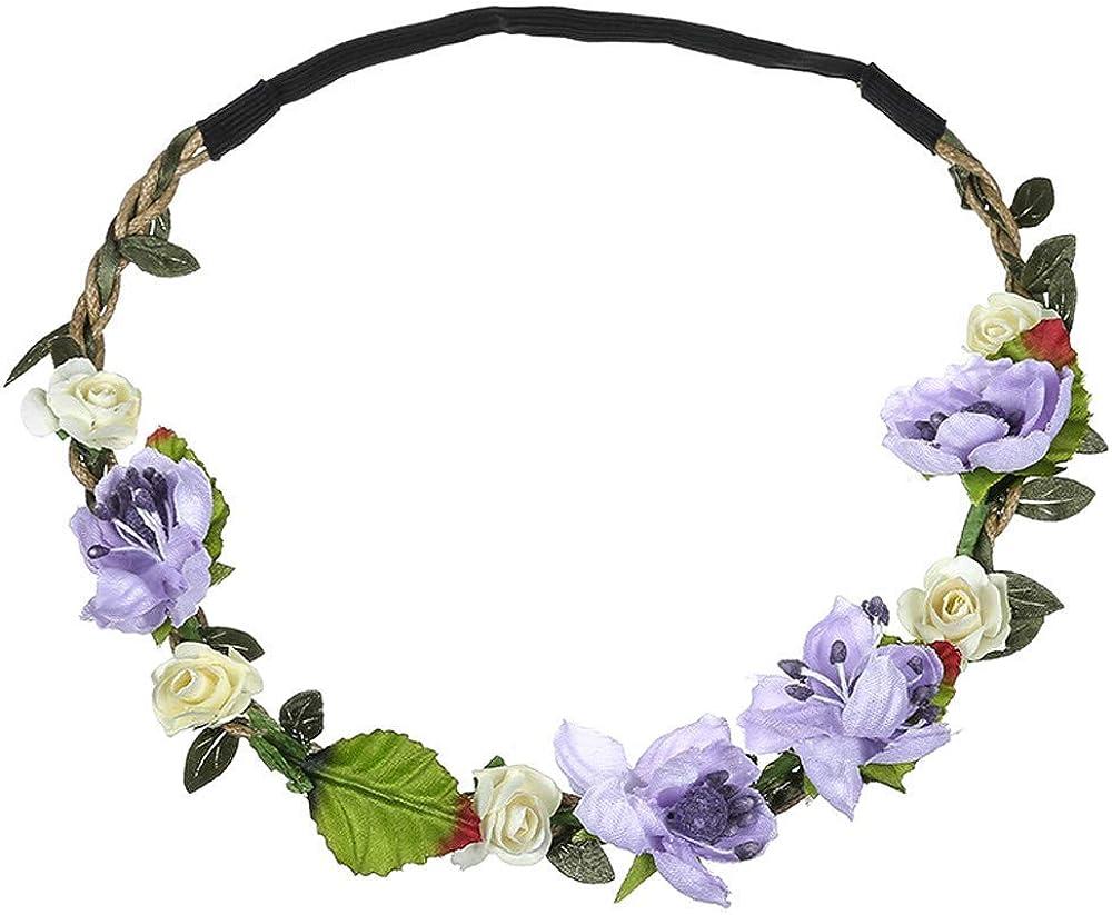 LODDD Boho Ladies Simulation Floral Flower Headband Festival Wedding Fashion Garland Hair Head Band Beach Party