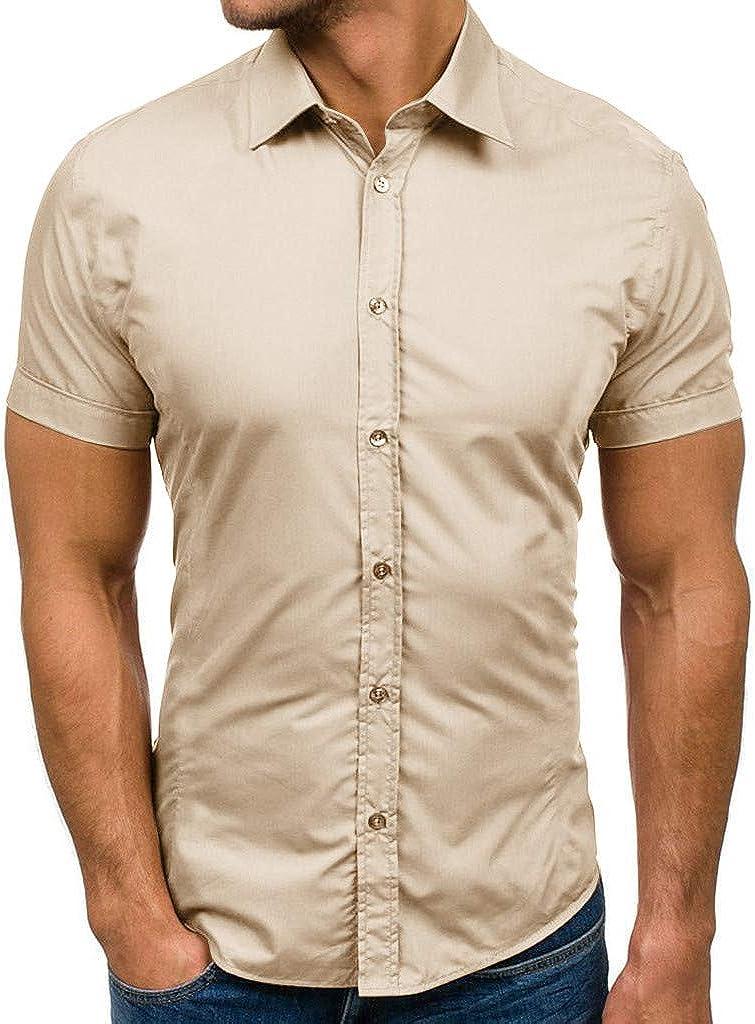 MODOQO Men's Luxury Paisley Dress Shirt Pure Color Short Sleeve Button Lapel Shirt