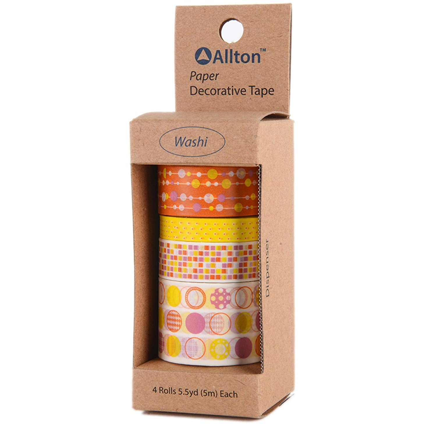 Allton TPX990010 Decorative Washi Tape 5m 4/Pkg Yellow Orange POP,