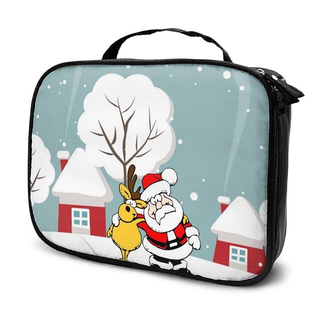 イル免除ホラー化粧品収納バッグ サンタクロース トナカイ 収納ポーチ 収納袋 化粧ポーチ 旅行の収納 化粧バッグ ウォッシュバッグ 多機能 旅行用品 おしゃれな 男女兼用